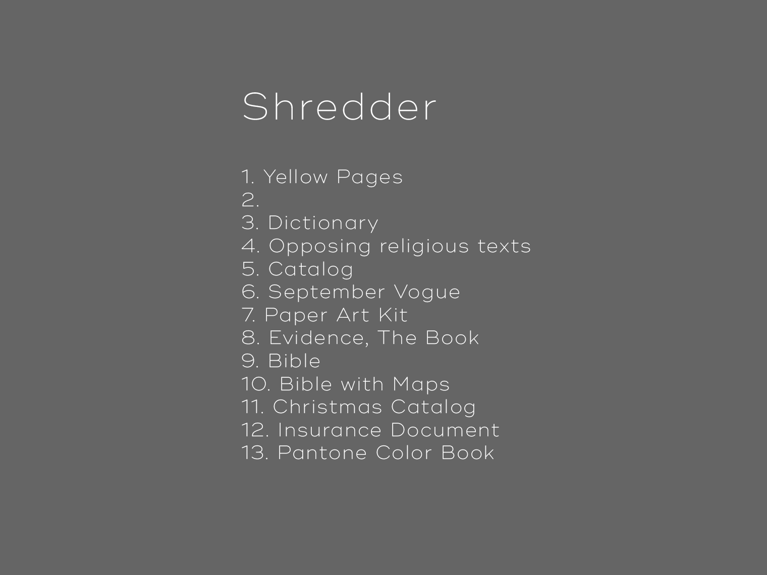 Shredder-Content-page
